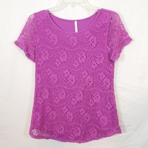 Leo & Nicole vibrant purple floral lace tunic top